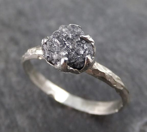 Rough Raw Black Diamond Engagement Ring Raw 14k White Gold Wedding Ring Wedding Solitaire Rough Diamond Ring 0151 - Gemstone ring by Angeline