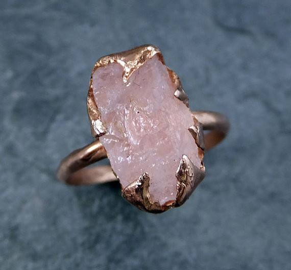 Raw Rough Morganite 14k Rose gold Ring Gold Pink Gemstone Cocktail Ring Statement Ring Raw gemstone Jewelry by Angeline - Gemstone ring by Angeline