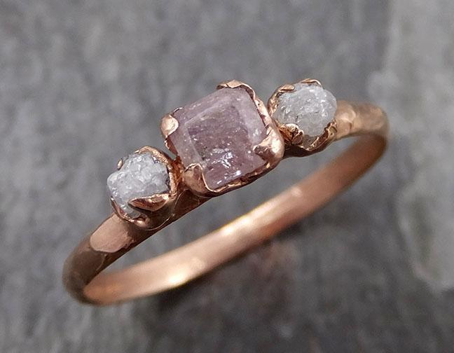 Faceted Fancy cut Pink Diamond Engagement 14k Rose Gold Multi stone Wedding Ring Rough Diamond Ring byAngeline 0877 - Gemstone ring by Angeline