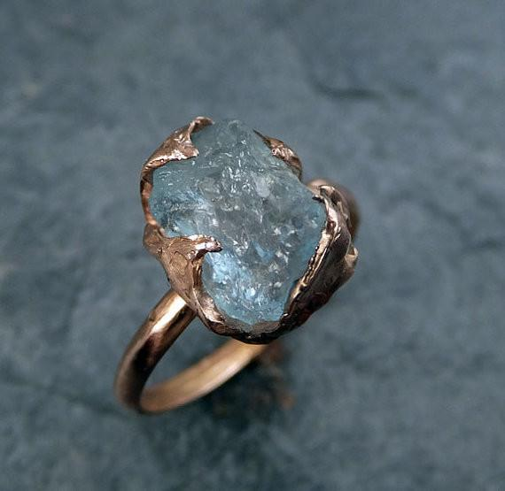Raw Uncut Aquamarine Ring Solid 14K Rose Gold Ring wedding engagement Rough Gemstone Ring Statement Ring Stacking Cocktail Ring by Angeline - Gemstone ring by Angeline