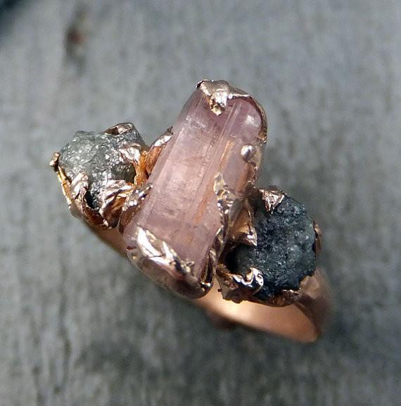 Raw Pink Tourmaline Diamond 14k Rose Gold Engagement Ring Wedding Ring One Of a Kind Gemstone Ring Bespoke Three stone Ring by Angeline - Gemstone ring by Angeline