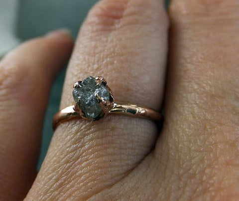 Raw Diamond Engagement Ring Rough Uncut Diamond Solitaire Recycled 14k rose gold Conflict Free Diamond Wedding Promise by Angeline - Gemstone ring by Angeline
