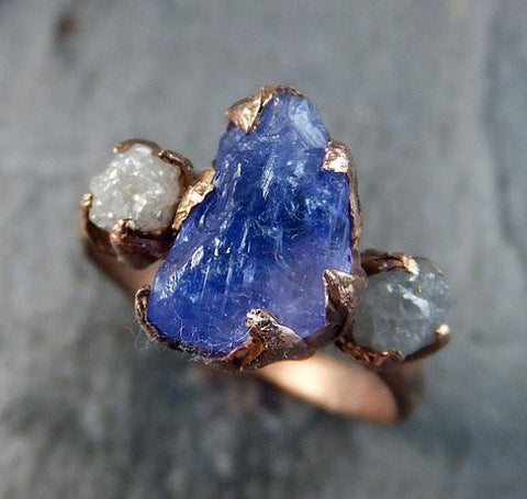 Raw Diamond Tanzanite Gemstone 14k Rose Gold Engagement Ring Wedding Ring One Of a Kind Gemstone Ring Bespoke Three stone Ring by Angeline - Gemstone ring by Angeline