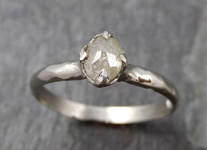 Faceted Fancy cut white Diamond Solitaire Engagement 14k White Gold Wedding Ring byAngeline 0879
