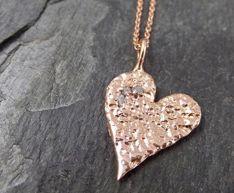 Raw Rough Dainty Diamond Rose Gold Heart Pendant Charm Necklace Pink Hammered Heart By Angeline 0881 - Gemstone ring by Angeline