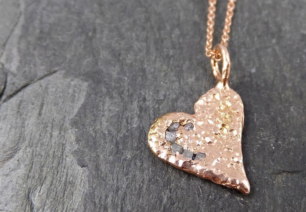 Raw Rough Dainty Diamond Rose Gold Heart Pendant Charm Necklace Pink Hammered Heart By Angeline 0882 - Gemstone ring by Angeline