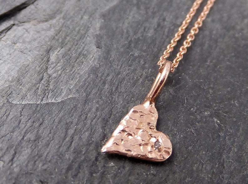 Raw Rough Dainty Diamond Rose Gold Heart Pendant Charm Necklace Pink Hammered Heart By Angeline 0883 - Gemstone ring by Angeline