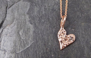 Raw Rough Dainty Diamond Rose Gold Heart Pendant Charm Necklace Pink Hammered Heart By Angeline 0884