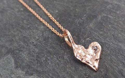 Raw Rough Dainty Diamond Rose Gold Heart Pendant Charm Necklace Pink Hammered Heart By Angeline 0884 - Gemstone ring by Angeline