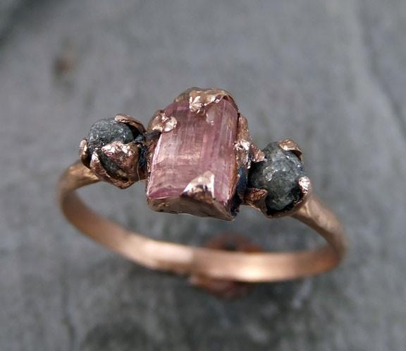 Raw Pink Tourmaline Diamond 14k Rose Gold Engagement Ring Wedding One Of a Kind Gemstone Ring Bespoke Three stone Ring by Angeline - Gemstone ring by Angeline