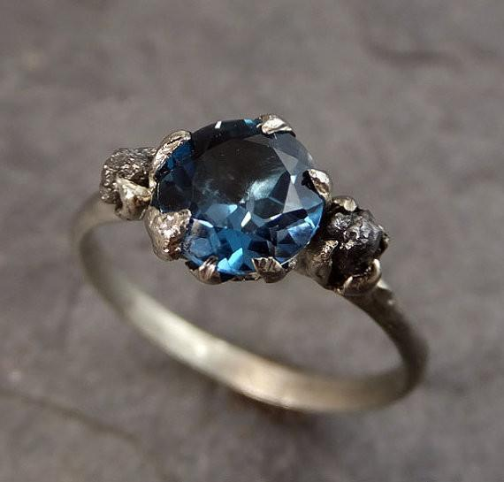 Raw Uncut Diamond London Blue Topaz White Gold Engagement Ring Wedding Custom One Of a Kind Gemstone Bespoke Three stone Ring by Angeline - Gemstone ring by Angeline
