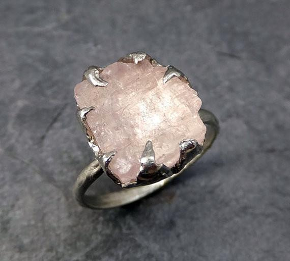 Raw Morganite White Gold Engagement Ring Wedding Ring Custom One Of a Kind Gemstone Ring Statement Ring by Angeline - Gemstone ring by Angeline
