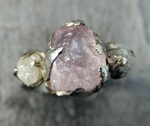 Raw Morganite Diamond White Gold Engagement Ring Wedding Ring Custom One Of a Kind Gemstone Ring Bespoke Three stone Ring by Angeline - Gemstone ring by Angeline