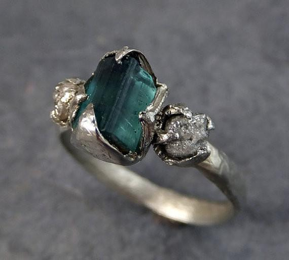 Raw blue green Tourmaline Diamond White Gold Engagement Ring Wedding Ring One Of a Kind Gemstone Ring Bespoke Three stone Ring by Angeline - Gemstone ring by Angeline