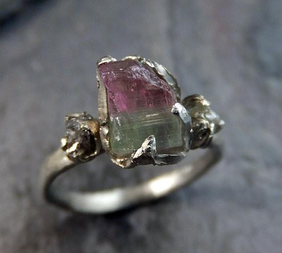Raw Watermelon Tourmaline Diamond White Gold Engagement Ring Wedding Custom One Of a Kind Gemstone Ring Bespoke Three stone Ring by Angeline - Gemstone ring by Angeline