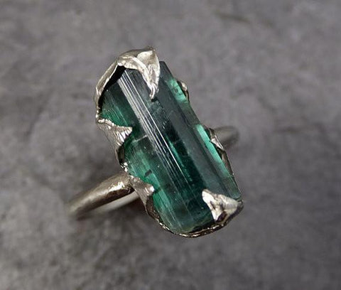 Raw Green Tourmaline White Gold Ring Rough Uncut Gemstone Promise Engagement recycled 14k stacking cocktail statement by Angeline - Gemstone ring by Angeline