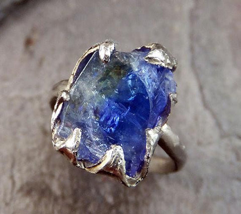 Raw Tanzanite Crystal White Gold Ring Rough Uncut Gemstone tanzanite recycled 14k stacking cocktail statement by Angeline - Gemstone ring by Angeline