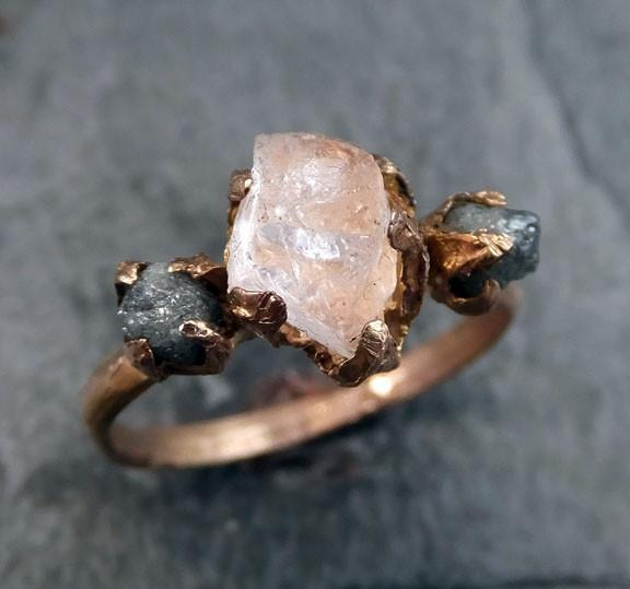 Raw Morganite Diamond Rose Gold Engagement Ring Wedding Ring Custom One Of a Kind Gemstone Ring Bespoke Three stone Ring by Angeline - Gemstone ring by Angeline