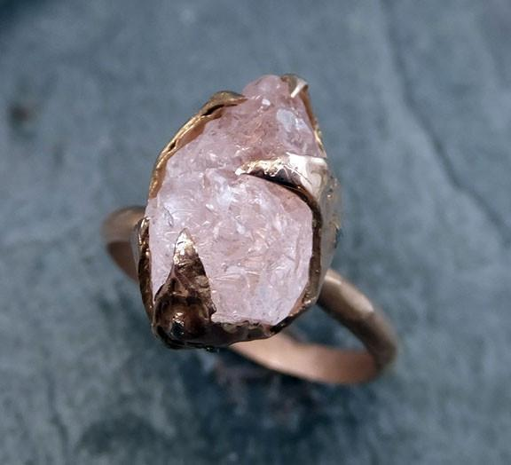 Raw Rough Morganite Diamond 14k Rose gold Ring Gold Pink Gemstone Cocktail Ring Statement Ring Raw gemstone Jewelry by Angeline - Gemstone ring by Angeline