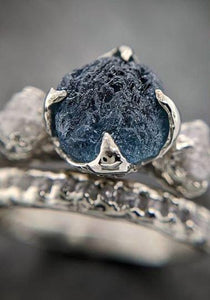 Raw Montana Sapphire Diamond White Gold Engagement Ring blue Multi stone Wedding Ring Custom One Of a Kind Gemstone Ring Three stone Ring byAngeline 2101