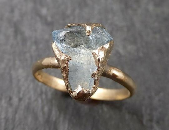 Raw uncut Aquamarine Solitaire 14k Yellow gold Ring Custom One Of a Kind Gemstone Ring Bespoke byAngeline 1612
