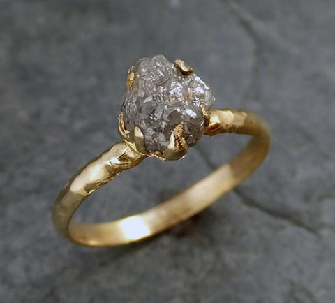 Raw Diamond Solitaire Engagement Ring Rough Uncut gemstone gold Conflict Free Grey Diamond Wedding Promise - Gemstone ring by Angeline