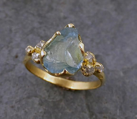 Raw Uncut Aquamarine Diamond Gold Engagement Ring Wedding 18k Ring Custom One Of a Kind Gemstone Bespoke Three stone Ring - Gemstone ring by Angeline