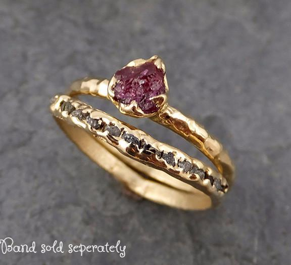 Raw Rough Ruby Solitaire Ring 14k red Gemstone Engagement birthstone Ring 0156 - Gemstone ring by Angeline