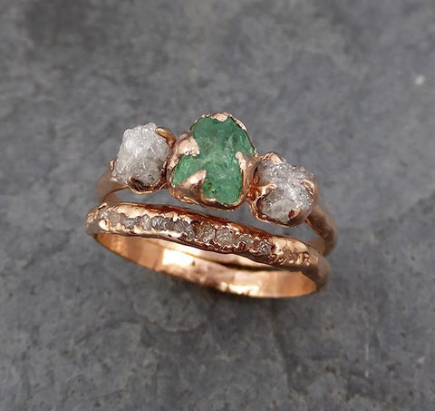 Raw Rough Emerald Conflict Free Diamonds Rose Gold Ring One Of a Kind Gemstone Engagement Wedding Ring Recycled gold - Gemstone ring by Angeline