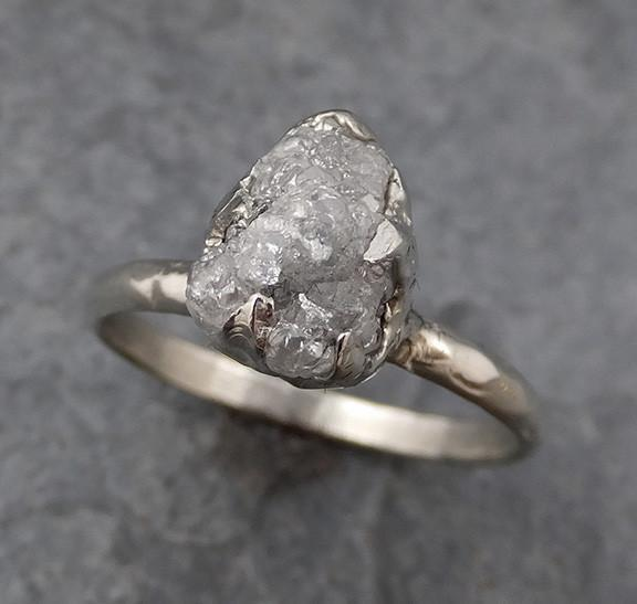 Raw Rough Uncut Diamond Engagement Ring Rough Diamond Solitaire 14k white gold Conflict Free Diamond Wedding Promise 0162 - Gemstone ring by Angeline