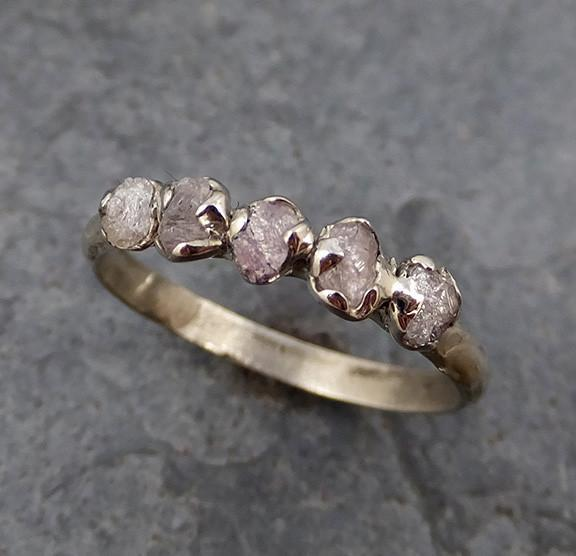 Raw Pink Diamonds White Gold Ring Multi stone Wedding Band Custom One Of a Kind Gemstone Ring Rough Diamond Ring - Gemstone ring by Angeline