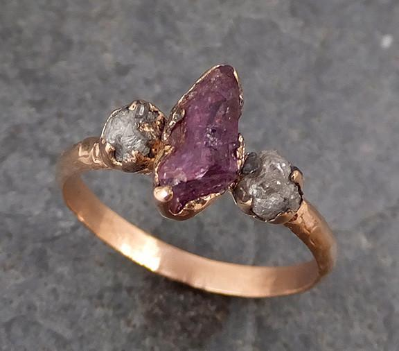 Raw Sapphire Diamond Gold Engagement Ring Multi stone Wedding Ring Custom One Of a Kind Purple Gemstone Ring Three stone Ring 0172 - Gemstone ring by Angeline