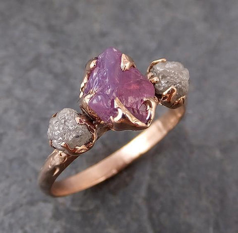 Raw Sapphire Diamond Gold Engagement Ring Wedding Ring Custom One Of a Kind Purple Gemstone Ring Three stone Ring - Gemstone ring by Angeline
