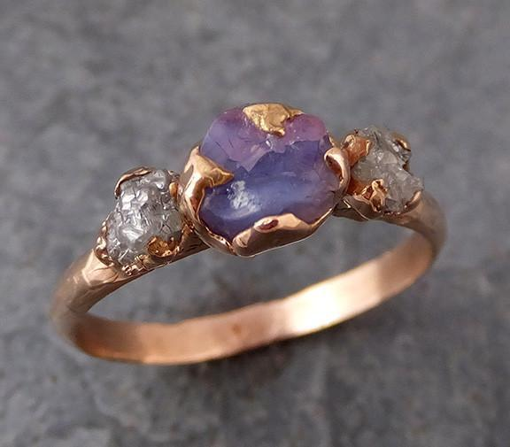 Raw Sapphire Diamond rose Gold Engagement Ring Multi stone Wedding Ring Custom One Of a Kind Purple Gemstone Ring Three stone Ring 0177 - Gemstone ring by Angeline