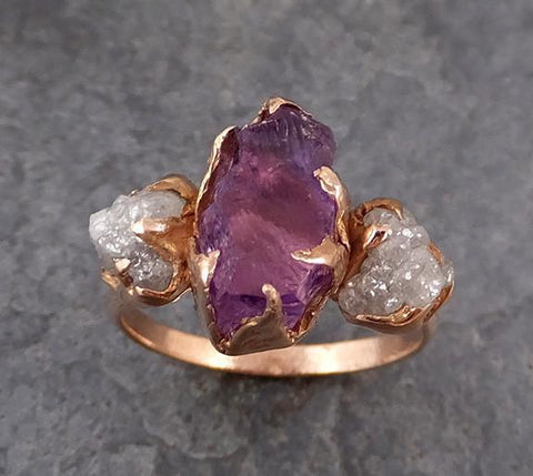 Diamond Amethyst Ring Purple Gemstone Recycled Rose Gold Wedding Birthstone Unique Engagement Statement ring - Gemstone ring by Angeline