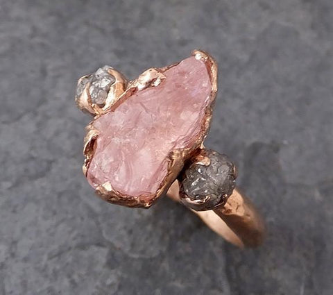 Raw Morganite Diamond Rose Gold Engagement Ring Wedding Ring Custom One Of a Kind Gemstone Ring Bespoke Three stone Ring - Gemstone ring by Angeline