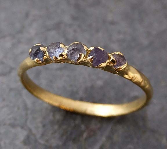 Raw Sapphire 18k Gold Engagement Ring Wedding Ring Custom One Of a Kind Blue Montana Gemstone Ring Multi stone Ring - Gemstone ring by Angeline