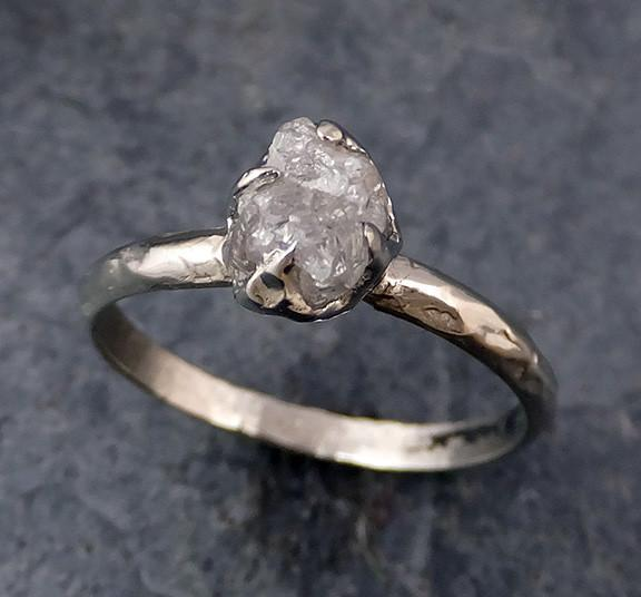 Raw Rough Uncut Diamond Engagement Ring Rough Diamond Solitaire 14k white gold Conflict Free Diamond Wedding Promise 0184 - Gemstone ring by Angeline