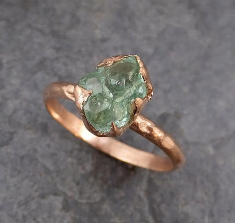 Raw Rough Emerald Rose Gold Ring Solitaire Birthstone One Of a Kind Gemstone Engagement Wedding Ring Recycled gold - Gemstone ring by Angeline