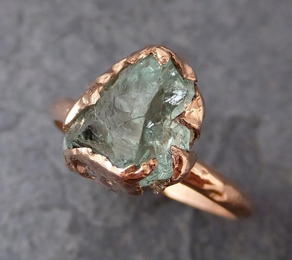 Raw Uncut Aquamarine Ring Solid 14K Rose Gold Ring wedding engagement Rough Gemstone Ring Statement Ring - Gemstone ring by Angeline