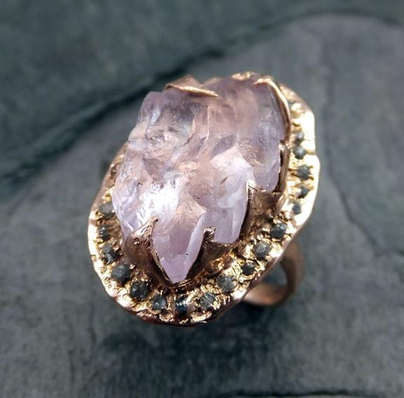 Raw Rough Uncut Kunzite Diamonds Rose Gold Halo Ring Engagement Multi stone Wedding Ring Statement Gemstone ring anniversary ring by Angeline 0017 - Gemstone ring by Angeline