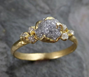 18k Raw Diamond Engagement Ring Rough Gold Wedding Ring diamond Wedding Ring Rough Diamond Ring