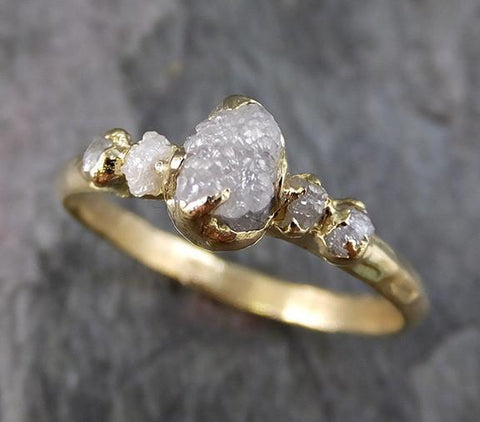 Raw Rough Diamond 18k yellow gold Engagement Multi stone Five Ring Rough Gold Wedding Ring diamond Wedding Ring Rough Diamond Ring 0192 - Gemstone ring by Angeline