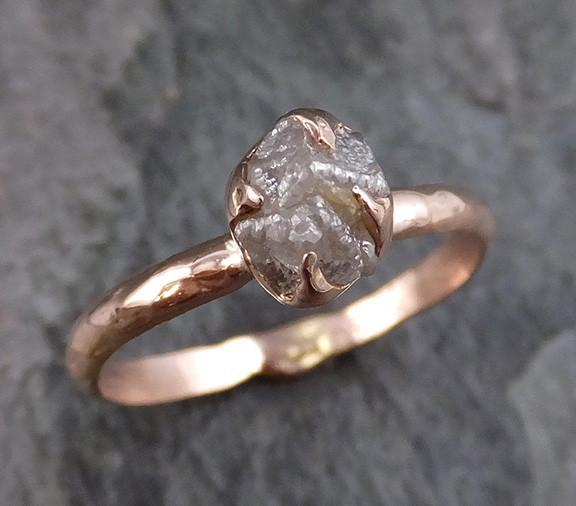 Raw Diamond Solitaire Engagement Ring Rough 14k rose Gold Wedding Ring diamond Stacking Ring Rough Diamond Ring - Gemstone ring by Angeline