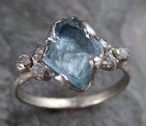 Raw Uncut Aquamarine Diamond Gold Engagement Ring Wedding White Ring Custom One Of a Kind Gemstone Bespoke Three stone Ring - Gemstone ring by Angeline