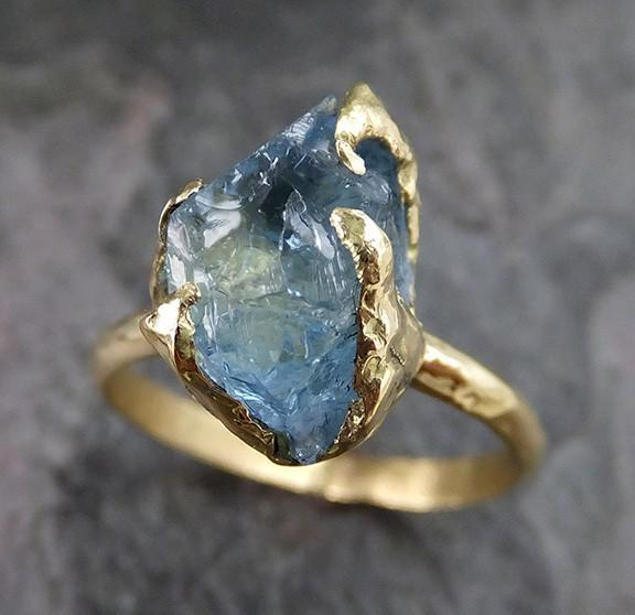 Raw Uncut Aquamarine Ring Solid 18k Gold Ring wedding engagement Rough Gemstone Ring Statement Ring - Gemstone ring by Angeline