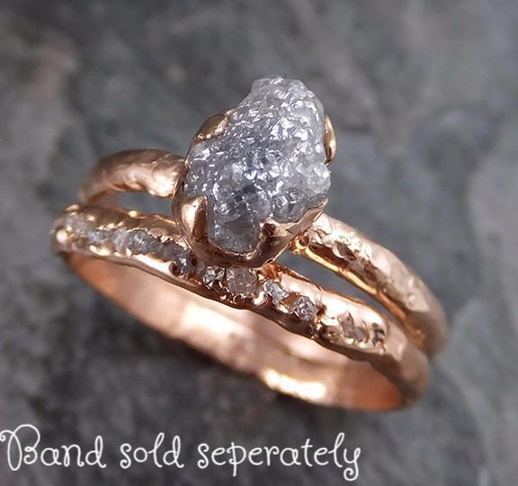 Raw Diamond Solitaire Engagement Ring Rough 14k rose Gold Wedding Ring diamond Stacking Ring Rough Diamond Ring 0200 - Gemstone ring by Angeline