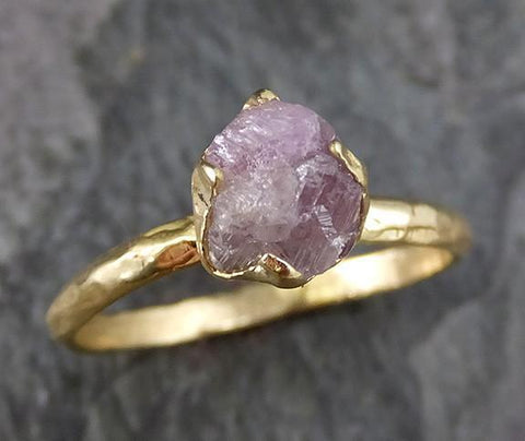 Raw Rough Uncut Conflict Free Pink Diamond Solitaire 18k yellow Gold Wedding Ring 0203 - Gemstone ring by Angeline