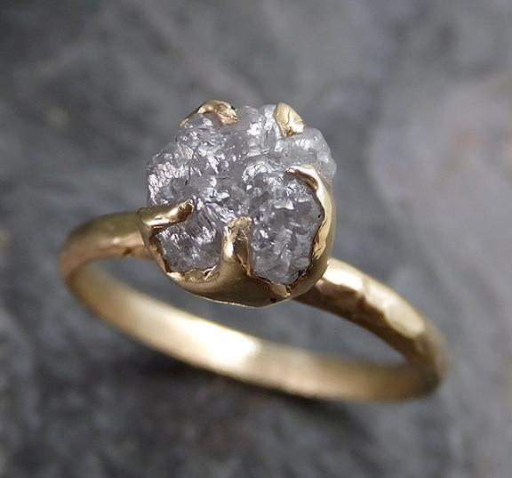Raw Diamond Solitaire Engagement Ring Rough Uncut gemstone gold Conflict Free Grey Diamond Wedding Promise 0205 - Gemstone ring by Angeline