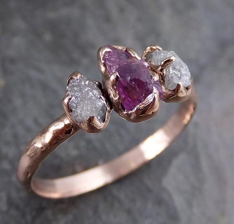 Raw Sapphire Diamond Gold Engagement Ring Multi stone Wedding Ring Custom One Of a Kind Purple Gemstone Ring Three stone Ring - Gemstone ring by Angeline